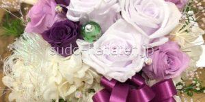 紫バラメインのプリザーブドフラワー(還暦祝い)